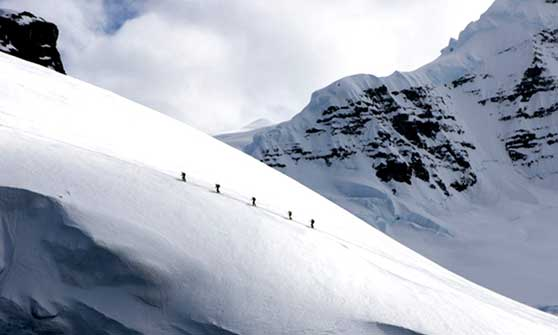 Ski Touring First tracks in Antarctic