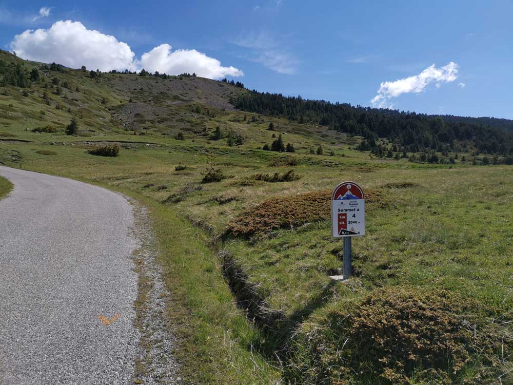 Col de Granon Gradient and the 4km profile sign