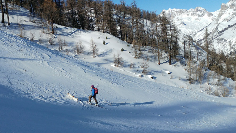 ski touring up towards the Bachas Chair Monetier