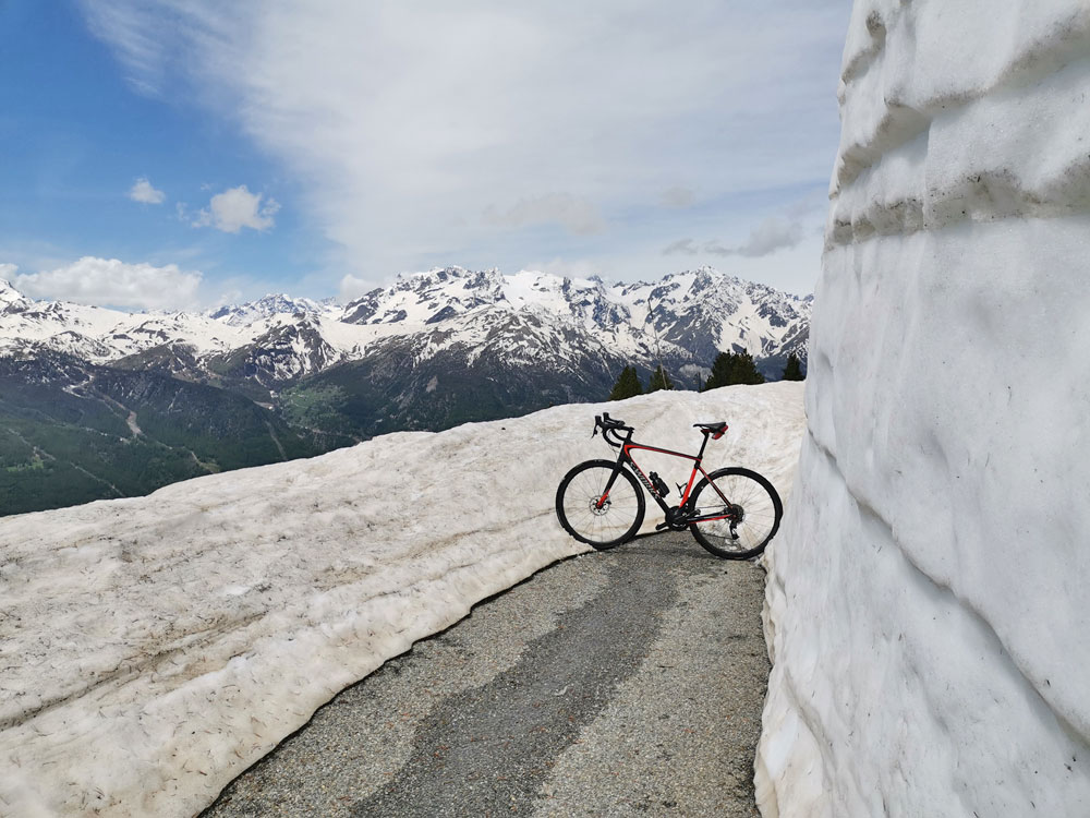 Col du Granon cycling to the snow line