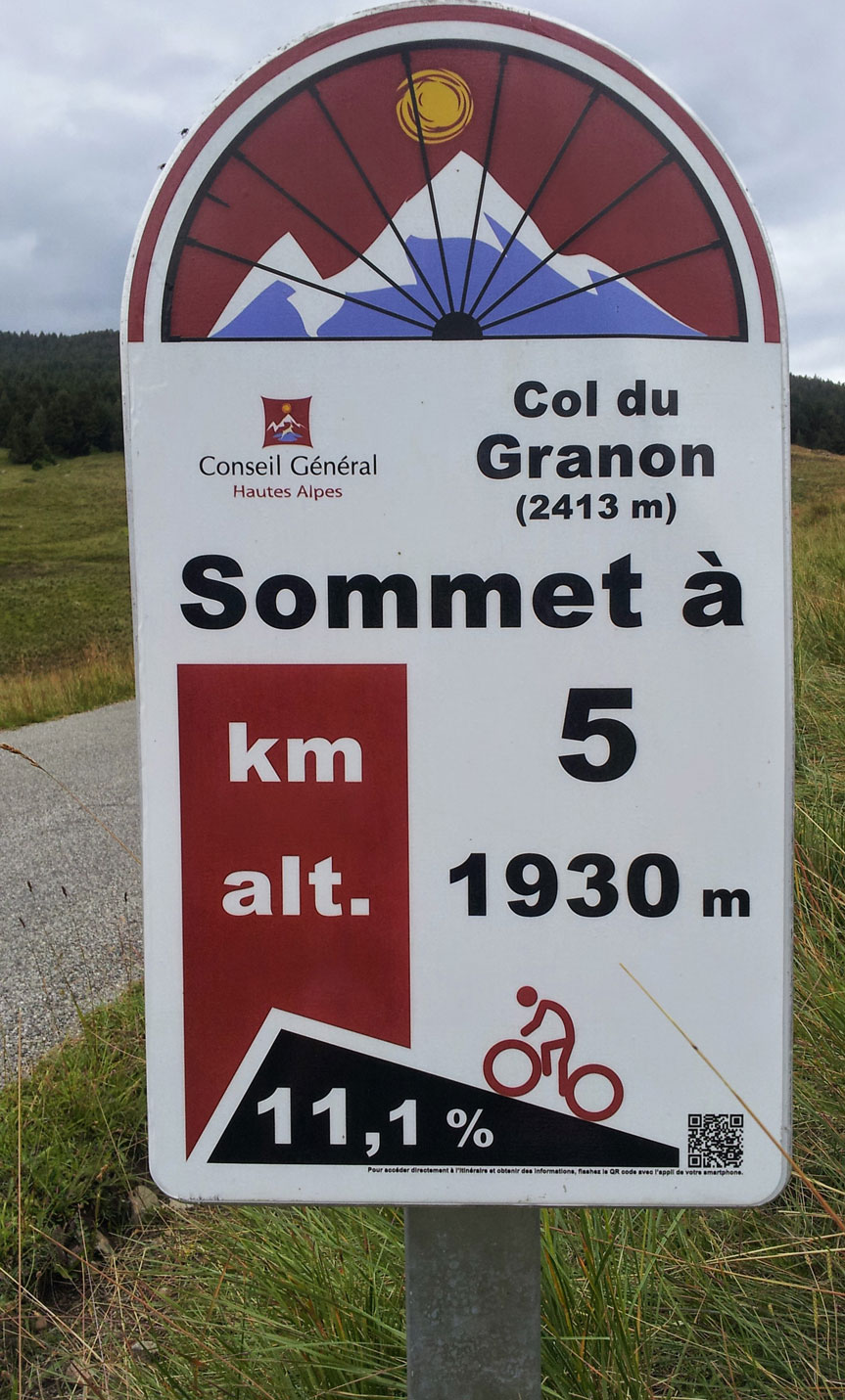 Col de Granon Gradient and the 5km profile sign