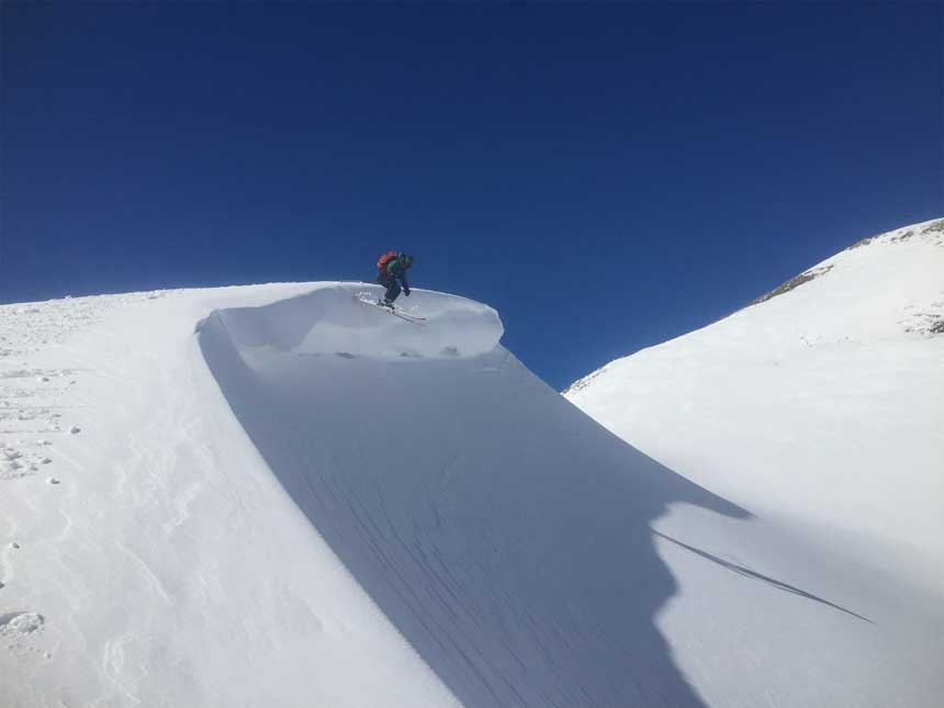 Skiing Off Cornice