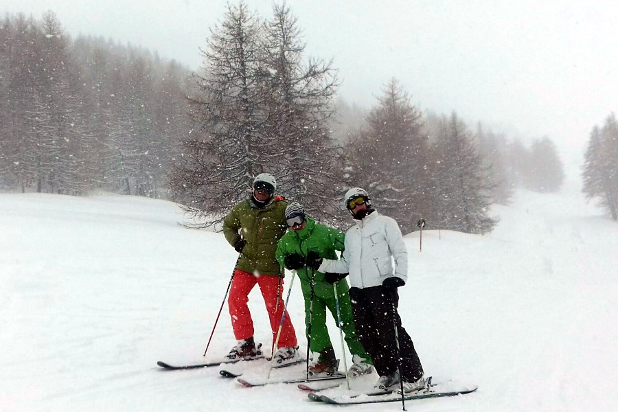 skiers in snow